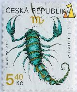 Scorpion, Ceska Republika, Czech Republic, stamp, reptile, scorpion, 5.40 Kc, Zverokruh, Stir, VL Suchanek, 1999, M Ondracek