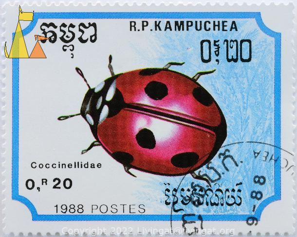 Seven-spot Ladybird, RP Kampuchea, Cambodia, stamp, insect, 1988, Postes, 0.20 R, Coccinella septempunctata, blue, Coccinellidae