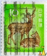 Sika Deers, Nippon, Japan, stamp, mammal, 10, Cervus nippon, pair, couple