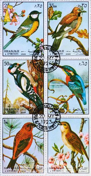Six birds in a series, Sharjah and Dependencies, Sharjah, UAE, stamp, bird, Air Mail, Parus major, Garrulus glandarius, Dendrocopos major, Alcedo atthis, Loxia curvirostra, Luscinia megarhynchos
