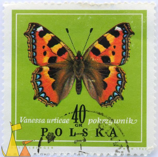 Small Tortoiseshell, Polska, Poland, stamp, insect, butterfly, Desselberger, PWPW, 1967, 40 Gr, Pokrzywnik, Vanessa urticae, Aglais urticae