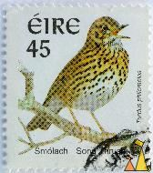 Smolach Song Thrush, Eire, Ireland, stamp, bird, 45, Turdus philomelos