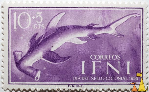 Smooth Hammerhead, Ifni, stamp, fish, Sphyrna zygaena, 10+5 cts, correos, Dia del sello colonial, 1954, F.N.M.T., Sphyrna lewini