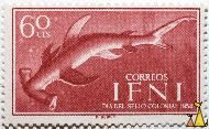 Smooth Hammerhead, Ifni, stamp, fish, Sphyrna zygaena, 60 cts, correos, Dia del sello colonial, 1954, F.N.M.T., Sphyrna lewini