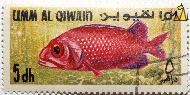 Soldier fish, Umm al Qiwain, UAE, stamp, fish, 1.50 Rls, Soldier fish