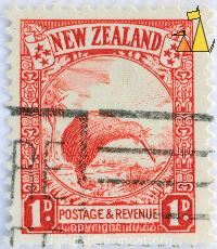 Southern Brown Kiwi, New Zealand, stamp, bird, 1 d, Postage, Revenue, Apteryx australis