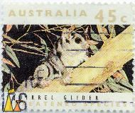 Squirrel Glider, Australia, stamp, mammal, 45 c, threatened species, Petaurus norfolcensis, 1992
