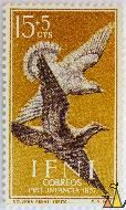 Stock Dove, Ifni, stamp, brown, bird, flying, correos, Pro-Infancia, 1957, FNMT, Columba aenas, Zurita, 15+5Cts, Columba oenas