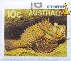 Stonefish, Australia, stamp, 10 c, fish, Synanceia horrida