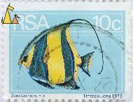 Strange Looking Moorish, RSA, South Africa, stamp, fish, light blue, 10 c, 1973, Ernst de Jong, Zanclus cornutus