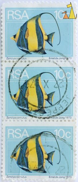 Strip of Three Moorish Idols, RSA, South Africa, stamp, fish, light blue, 10 c, 1973, Ernst de Jong, Zanclus cornutus, strip