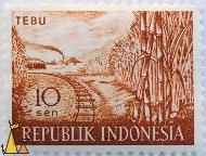 Sugarproduction, Republik Indonesia, Indonesia, stamp, plant, farming, crop, Tebu, 10 Sen, train, rails, steam engine, Saccharum spp