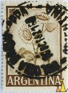 Sunflower in green, Republica Argentina, Argentina, stamp, plant, flower, 1 Peso, Girasol, Helianthus annuus