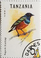 Superb Starling, Tanzania, stamp, bird, Superb Starling, Lamprotornis superbus, 5.