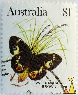 Sword-Grass Brown, Australia, stamp, insect, butterfly, $1, Tisiphone abeona