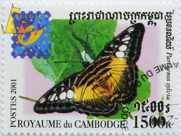 The Clipper, Royaume du Cambodge, Cambodia, stamp, insect, butterfly, Postes, 2001, Belgica, 1500 R, Parthenos sylvia, Papilio sylvia