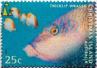 Thicklip wrasse, Christmas Island Australia, Christmas Island, stamp, fish, 1998, Thicklip wrasse, 25 c, Thicklip wrasse, Pyramid butterflyfish