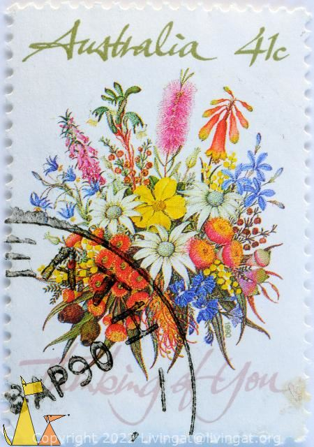 Thinking of you, Australia, stamp, flower, plant, bouquet, 41 c, Perth