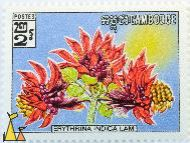 Tiger's Claw, Cambodge, Cambodia, stamp, flower, plant, 2, Erythrina indica lam, Erythrina variegata