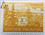 Tobacco plantation, Republik Indonesia, Indonesia, stamp, Tembako, plant, crop, 20 Sen, farming, Nicotiana spp