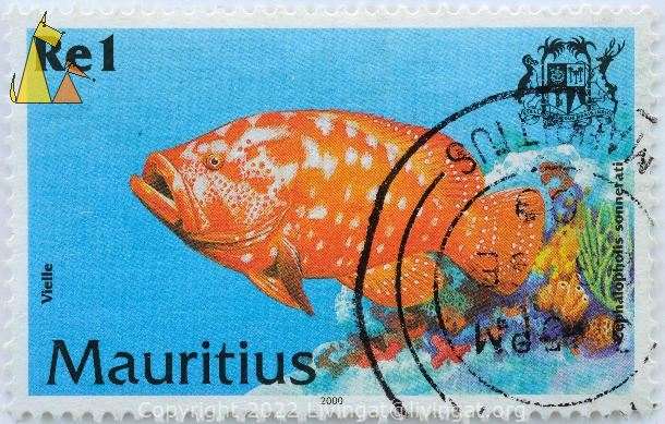 Tomato Hind, Mauritius, stamp, fish, coat of arms, dodo bird, 2000, Vielle, 1 Re, Cephalopholis sonnerati