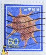 Triumphant Star Turban, Nippon, Japan, stamp, shell, 60, Guildfordia triumphans