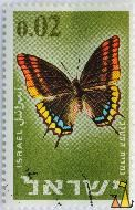 Two-tailed Pasha, Israel, stamp, green, butterfly, Charaxes jasius, 0.02
