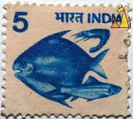Two blue fish, India, stamp, fish, 5, blue