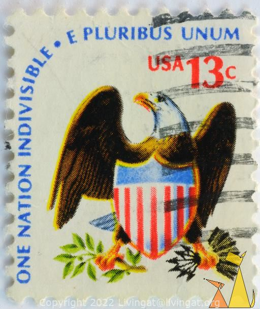US Coat of Arms, USA, stamp, bird, 13 c, coat of arms, bird of prey