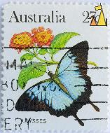 Ulysses, Australia, stamp, insect, 27 c, butterfly, Papilio ulysses