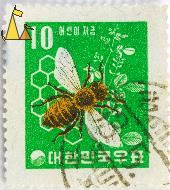 Western Honey Bee, South Korea, stamp, insect, bee, green, 10, Apis mellifera