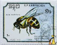 Western Honeybee, RP Kampuchea, Cambodia, stamp, insect, 1988, Postes, 1 R, Apis mellifera
