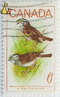 White-Throated Sparrow, Canada, stamp, bird, 6, Le Pinson A Gorge Blanche, Zonotrichia albicollis