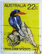 White Tailed Kingfisher, Australia, stamp, bird, 22 c, White Tailed Kingfisher, Tanysiptera sylvia