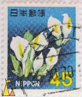 White flower, Nippon, Japan, stamp, flower, plant, 45