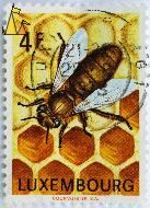 Working Honey Bee, Luxembourg, stamp, insect, bee, Courvoisier SA, 4 F, Apis mellifera