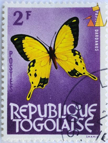 Yellow Butterfly on Purple, Republique Togolaise, Togo, stamp, insect, butterfly, postes, Shamir, 2 F, purple, Papilio dardanus