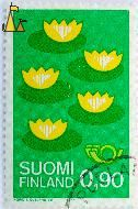 Yellow Water-lily, Suomi, Finland, stamp, plant, flower, 0.90, horn, Nuphar lutea, Ingrid KJ Ousland del, green