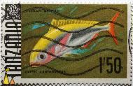 Yellow and blueback fusilier, Tanzania, stamp, fish, Kijakazi mermbo, 1.50, Yellow and black fusilier, Caesio xanthonotus, Caesio teres