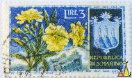 Yellow flower, Republica Di S. Marino, San Marino, stamp, LPS Off cart val, Roma, R Franzoni, 3 Lire