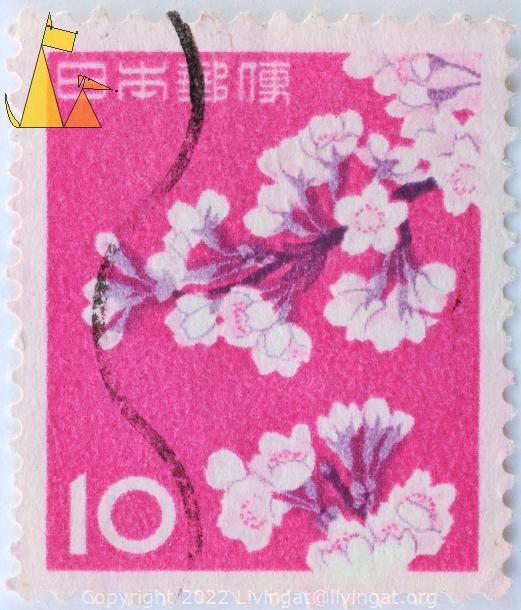 Yoshino Cherry Flowers, Japan, stamp, plant, flower, cerise, 10, Prunus x yedoensis