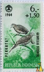 Zebra Dove, Republik Indonesia, Indonesia, stamp, bird, Perkutut, Geopelia striata, 1964, 6+1.50, dove