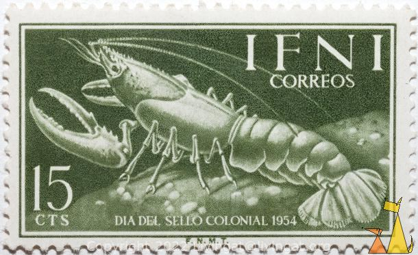 lobster, Ifni, stamp, crustean, lobster, 15 cts, correos, Dia del sello colonial, 1954, F.N.M.T.